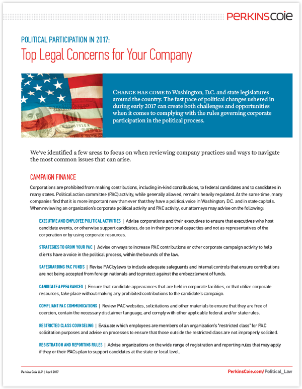 Political Participation in 2017: Top Legal Concerns for Your Company Document